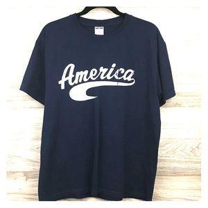America patriotic blue white graphic tee t-shirt